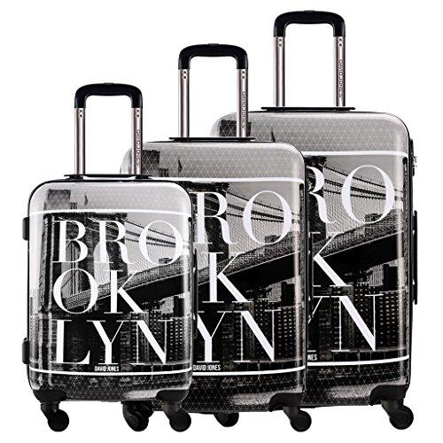 DAVIDJONES 3 Piece Luggage Set Hardside Spinner Suitcase Set for Travel Business - Brooklyn Hardside Business Cases