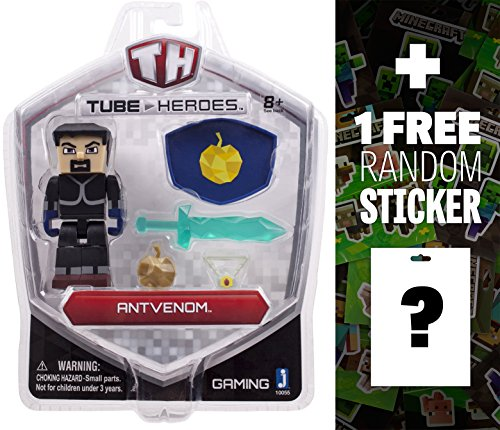 AntVenom: Tube Heroes Mini Action Figure Series + 1 FREE Official Minecraft Mini-Sticker Sheet Bundle