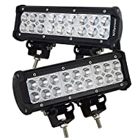 "Willpower 2PCS 9"" Inch 54W Spot Led Work Light Bar 5400LM 10-30V for Heavy Duty Off-road Vehicle Pickup Jeep 4x4 4WD Car SUV Truck Boat"
