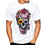 XQXCL Men's Flowers Skull 3D Art Printing Short Sleeve T-Shirt Round Neck Personality Blouse Tops White