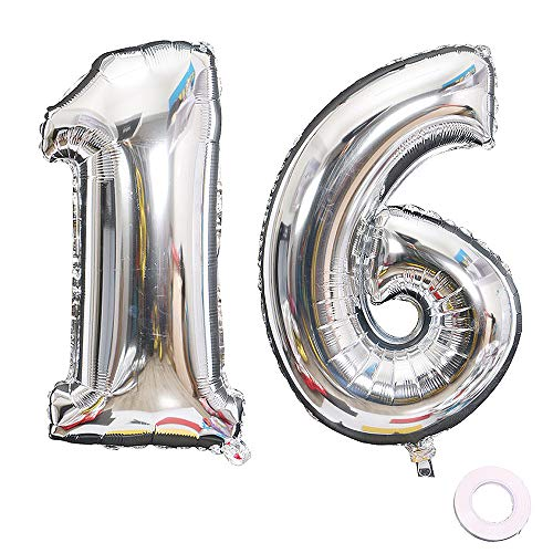 - Jurxy Silver Number 16 Balloons Large Foil Mylar Balloons 40 Inch Giant Jumbo Number Balloons for Birthday Party Decorations