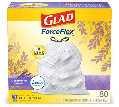 Glad ForceFlex Tall Kitchen Drawstring Trash Bags 13 Gallon White Trash Bag, Mediterranean Lavender scent with Febreze…