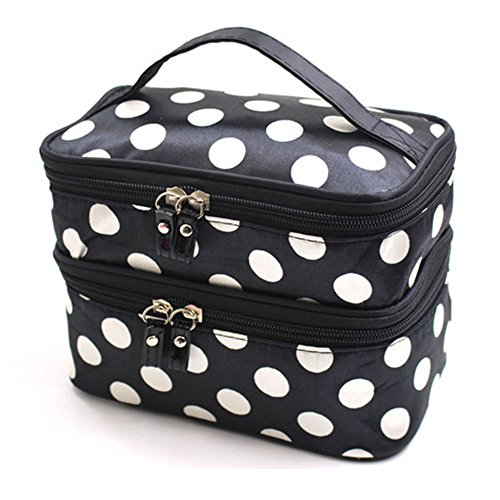 Mirror Makeup Dots (Lemoncy 2 Layer Traveling Makeup Bag Small Dot Pattern With Mirror Portable Waterproof Cosmetic Bag MakeUp Case Portable Durable With Dual Zipper Holder Travel Toiletry Bag Organizer (Black white))