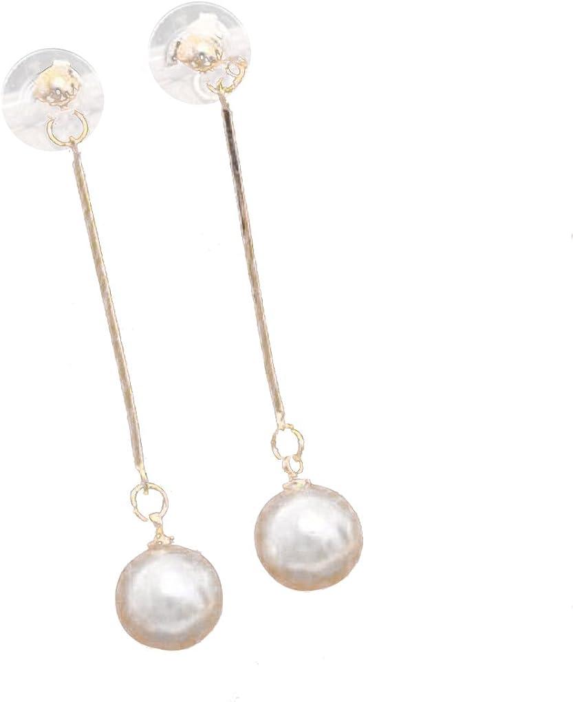 Bodbii Pendientes de gota largos cuelgan aretes de perlas Mujeres Niñas linda del oído alambre pendientes del banquete de boda