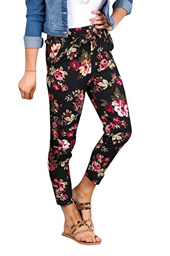 Liyuandian Womens Floral Print Stretch Belted High Waisted Skinny Pants (Cotton Belted Stretch)