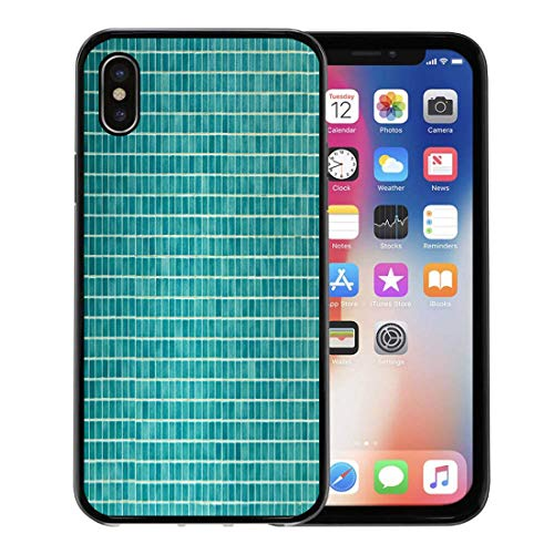 Emvency Phone Case for Apple iPhone Xs case,Green Bathroom Wall and Floor Mosaic Tiles in Azure Blue Pool Porcelain for iPhone X Case,Rubber Border Protective Case,Black