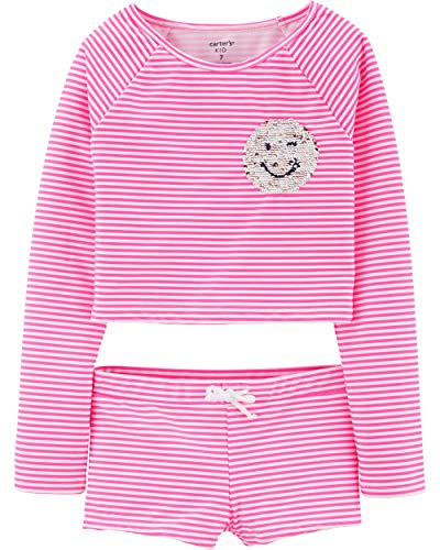 Carter's Girls' Rashguard Set (8, Flip Sequin Emoji)