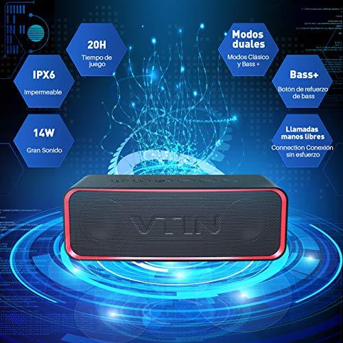 VTIN R2 - Altavoz Bluetooth Portátiles, IPX6 Impermeable, con Sonido Extra Bass y Clásico, Botones Delicados y Diseño Ultraportatil, Es...