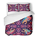 Emvency Bedding Duvet Cover Set Full/Queen (1 Duvet Cover + 1 Pillowcase) Colorful Indian Design For Pocket Shawl Paisley Floral Pattern Dance Turkish Fantasy Hotel Quality Wrinkle and Stain Resistant