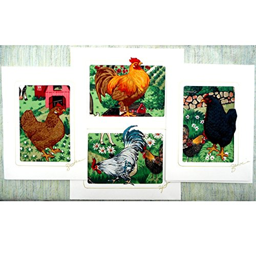 Correspondence Cards Casual (Original Fabric Collage Greeting Cards, Set of 4 Different Rooster & Hen Designs, Chicken Lover Gift)