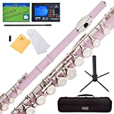 Mendini Closed Hole C Pink Flute with Tuner, Stand, 1 Year Warranty, Case, Cleaning Rod, Cloth, Joint Grease, and Gloves - MFE-PK+SD+PB+92D