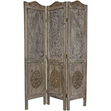 Oriental Furniture European Look Privacy Screen, 74-Inch Tall Wood and Metal Closed Mesh Design Room Divider, 3 Panel
