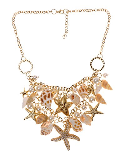 ZLYC Women Fashion Summer Hot Chunky Sea Shell Starfish Faux Pearl Statement Necklace Gold
