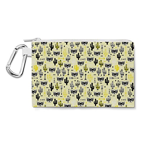 Raccoon Bandit Wild West Yellow - Large Canvas Pouch 10x7 inch - Canvas Zip Pouch - Multi Purpose Pencil Case Bag in 6 sizes