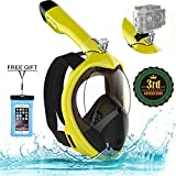Poppin Kicks Full Face Snorkel Mask for Adult Youth and Kids   180° Panoramic View Anti-Fog Anti-Leak Easy Breathe No Mouthpiece Design   GoPro Compatible w/Detachable Camera Mount Bumblebee L/XL