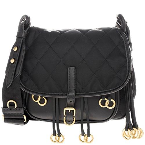Prada Women's Fringe Corsaire Quilted Nylon Fabric bag Black