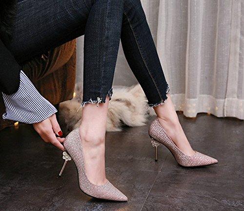 39 Tacones Solo trabajo Fuerte Superficial Perforación Agua Temperamento Banquetes Shoe Tacón Cabeza elegante muelle Oro Mdrw Delgada ocio De Boca Altos Fino lady Zapatos 8cm aEqx64vHwS