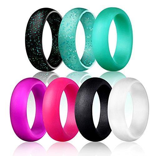 Egnaro Silicone Wedding Rings - 7 Rings Pack - Design for Women Size 4-8, Purple, Glitter Green, Glitter Black,Black, White, Rose Red,Green (6.5-7(17.3mm))