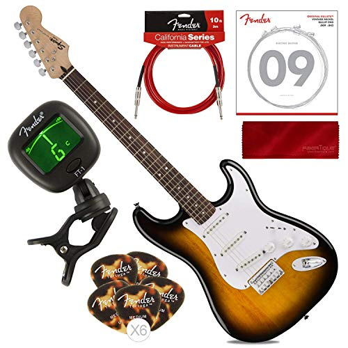 (Fender Squier Bullet Strat HT 6-String Electric Guitar - Hard Tail - Brown Sunburst with Tuner, Strings, Picks, Complete Starters Pack)