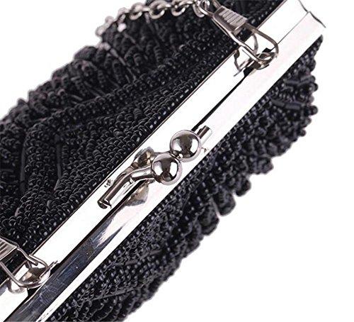 Soirée Body de black Cross à Sacs Mariage Main WBAG chaîne Pochette Perles Femme Robe Perles Sac qxpgTwga