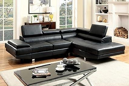 Groovy Amazon Com 2 Pc Kemina Collection Modern Style Black Bonded Creativecarmelina Interior Chair Design Creativecarmelinacom