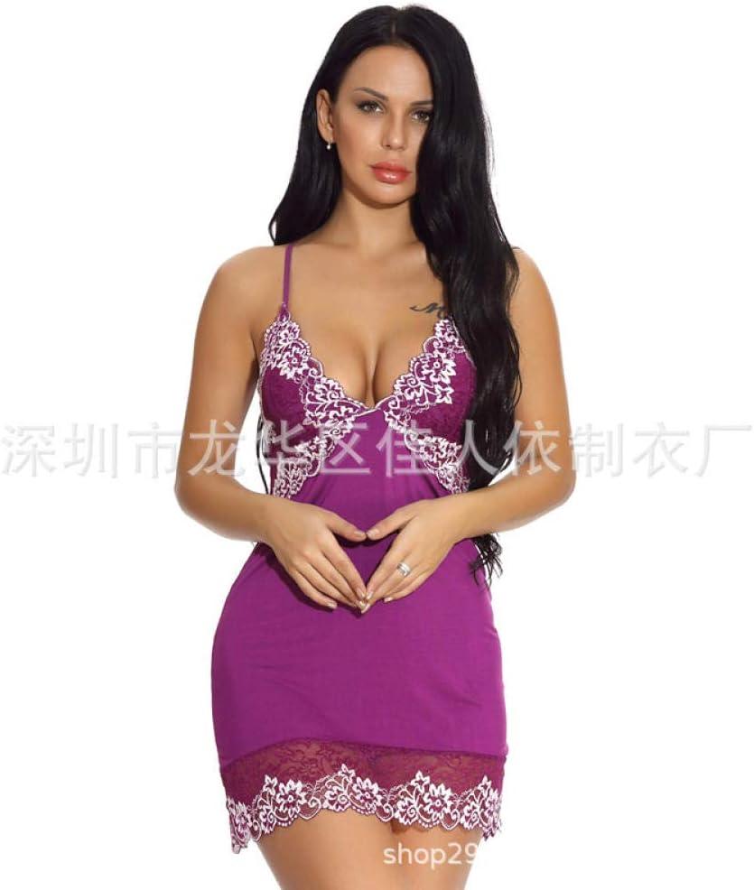 HTRP Lencería y Ropa Interior para Mujer Lencería Sexy Sexy Cuello en V Encaje Encaje Correas de Hombro Ajustables Espalda Cruzada Camisón sin Respaldo Camisa púrpura L