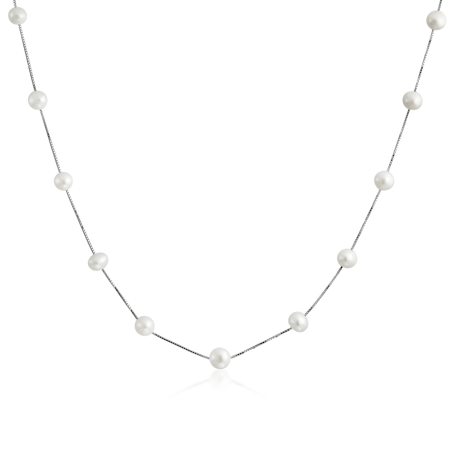 Bridal Freshwater Cultured Pearl White Tin Cup Sterling Silver Necklace 16 Inches