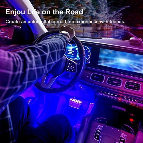 Interior Car Lights, Car LED Strip Lights Interior Upgrade Two-Line Design 4pcs 48 LED APP Controller Waterproof Lighting Kits, Multi DIY Color Music Under Dash Car Lighting with Car Charger, DC 12V