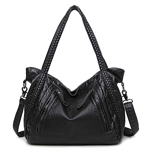Mn&Sue Black Large Slouchy Soft Leather Women Handbag Braided Shoulder Tote Bag Crossbody Satchel (Braided Handle Tote Bag)