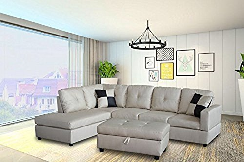 Legend Faux Leather Right-Facing Sectional Sofa Set with Free Storage Ottoman, Vanilla