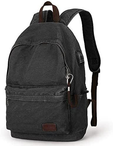 Muzee Canvas Backpack with USB Charging Port for Men Women, Lightweight Anti-Theft Travel Daypack College Student Rucksack Fits up to 15.6 inch Laptop Backpack