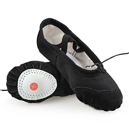 LONSOEN Ballet Slipper Shoes Split-Sole Dance Flat for Girls (Toddler/Little Kid/Big Kid), Black, 8 M US Toddler (Pointe Shoes Black)