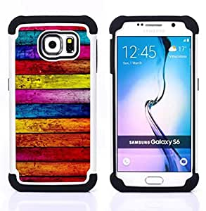 For Samsung Galaxy S6 G9200 - wood texture lines horizontal colorful Dual Layer caso de Shell HUELGA Impacto pata de cabra con im??genes gr??ficas Steam - Funny Shop -