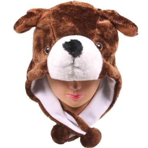 Cartoon Animal Hat Fluffy Plush Cap - Unisex (US Seller)Dog_New_Warm Cap Earmuff Gift (Kids Plush Dinosaur Wings Costume)