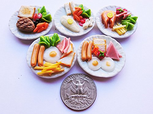 Thai 5 Mix Breakfast Egg & Steak Dollhouse Miniature Food,Tiny Food, Doll Collectibles,Doll Food Barbie Sized Doll Food