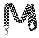 Break Away Large Polka Dot Print Lanyard Key Chain Id Badge Holder (Black)
