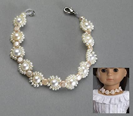 """Pink Pearl Necklace /& Bracelet Set 18/"""" Doll Clothes Accessory For American Girl"""
