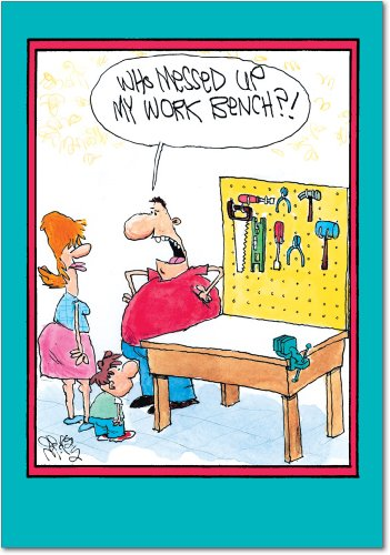 "0140 'Work Bench' - Funny Father's Day Greeting Card with 5"" x 7"" Envelope by NobleWorks"