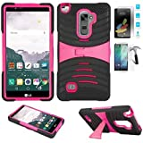 Phone Case for LG Stylo 2 LTE Tempered Glass Screen Protector with Heavy Duty Armor Cover Black-Pink Stand