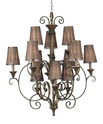 Kenroy Home 90568MB Lincolnshire Twelve-Light Chandelier, Mocha Bliss with Pleated Shades