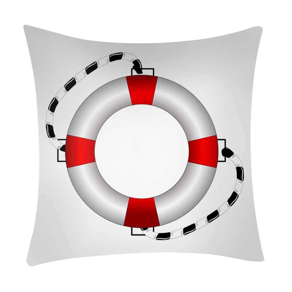 Pgojuni_Pillowcases Sailing Printing Pillow Case Polyester Sofa Car Cushion Cover Home Decor Cover Pillow Case1pc (45cm X 45cm) (F)