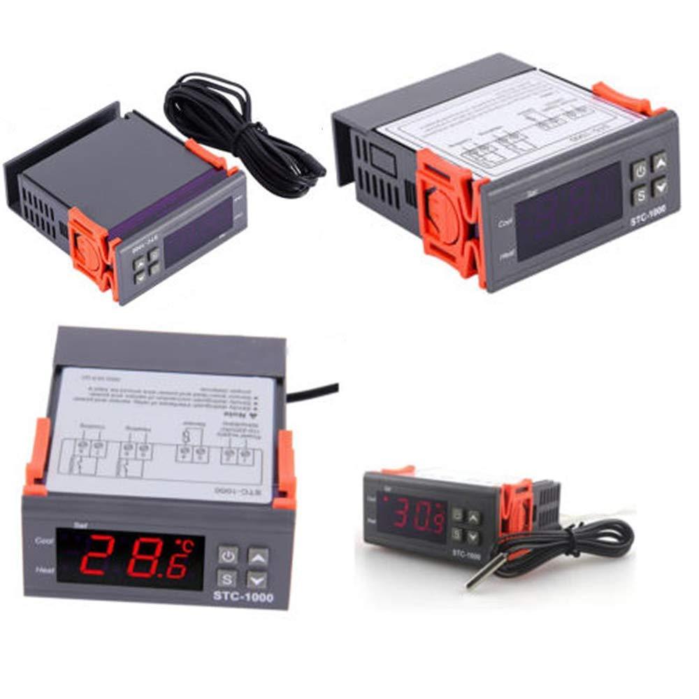 Vipmoon Contr/ôleur de temp/érature num/érique LED STC-1000 AC110-220 V Fahrenheit Centigrade Thermostat avec capteur 2 relais Contr/ôle du refroidissement