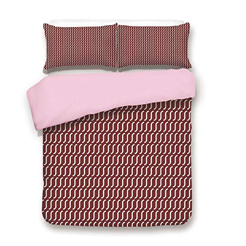 (Pink Duvet Cover Set,Queen Size,Curvy Wavy Lines Simplistic Pattern on Dark Red Background Vintage Twist Tile,Decorative 3 Piece Bedding Set with 2 Pillow Sham,Best Gift For Girls Women,Burgundy White)