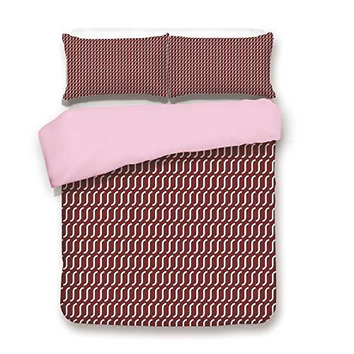 (Pink Duvet Cover Set,Queen Size,Curvy Wavy Lines Simplistic Pattern on Dark Red Background Vintage Twist Tile,Decorative 3 Piece Bedding Set with 2 Pillow Sham,Best Gift For Girls Women,Burgundy White)