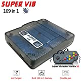 MJKJ Retro Game Console ,Built-in 169 Classic Games (30 Vibrating Games) Support TV Output Portable Video Game Console with 2PCS Joystick - Transparent Black