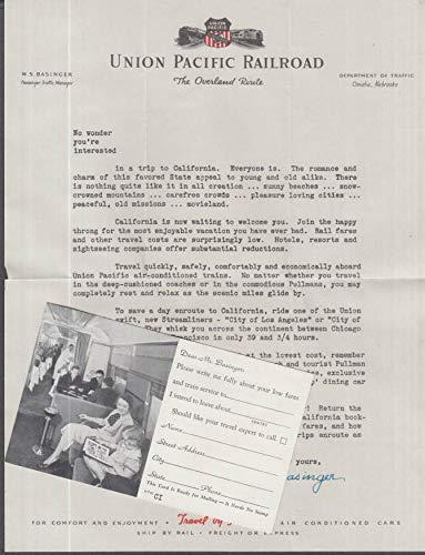 Union Pacific Railroad California trip sales letter & business reply card 1940s