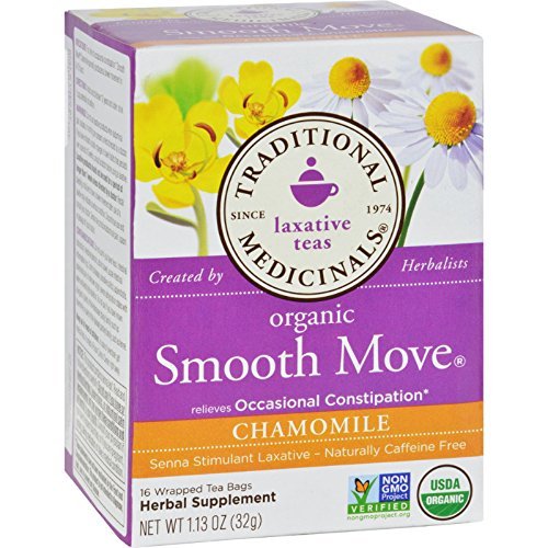 (Traditional Medicinals Organic Smooth Move Chamomile Herbal Tea - 16 Tea Bags - Case of 6)