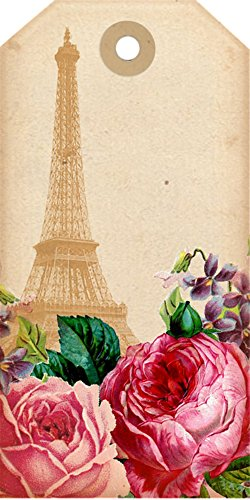 (Laminated 24x48 inches Poster: French Eiffel Tower Eiffel Paris Tags Decorative Scrapbook Roses Vintage Paper Card Design Gift Collage Pink Pretty Romantic Artistic)