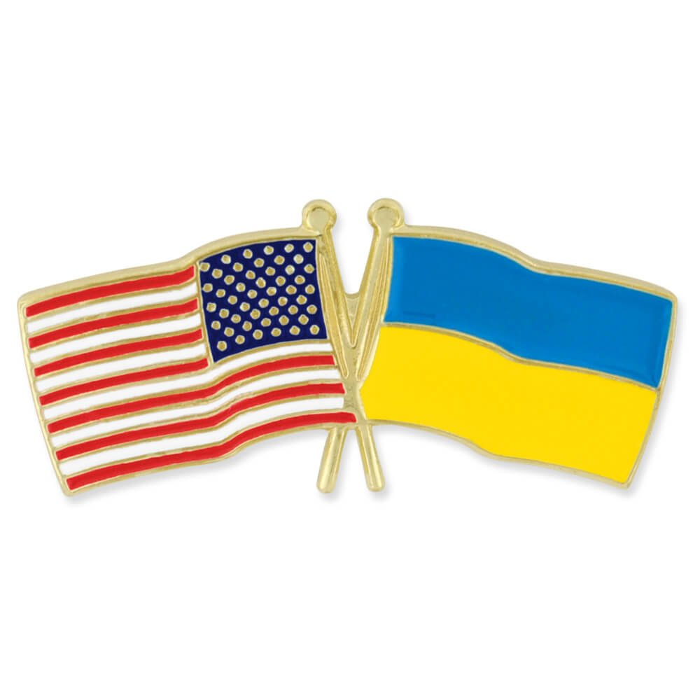 PinMart's USA and Ukraine Crossed Friendship Flag Enamel Lapel Pin