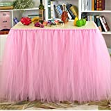 Haperlare Pink Tutu Tulle Table Skirt Queen Snowflake Wonderland Table Cloth Skirts for Wedding Christmas Party Baby Shower Birthday Cake Table Girl Princess Decor,31x36inch